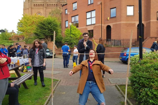 Welcoming students with fun and activities at dwell Cathedral Campus, Liverpool